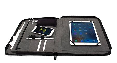 Wireless Charging Padfolio with 5000 mAh Battery
